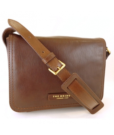 Shoulder strap The Bridge woman with flap in genuine leather color leather